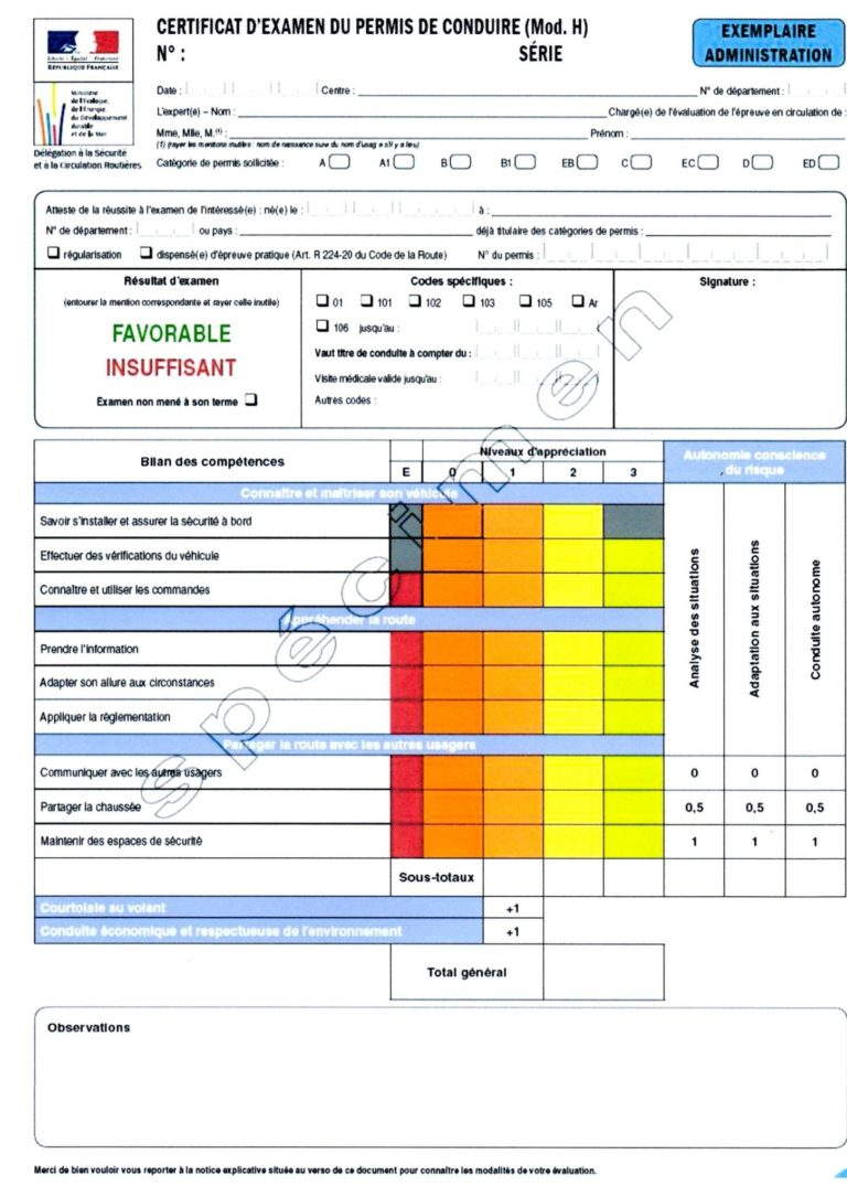 certificat d'examen du permis